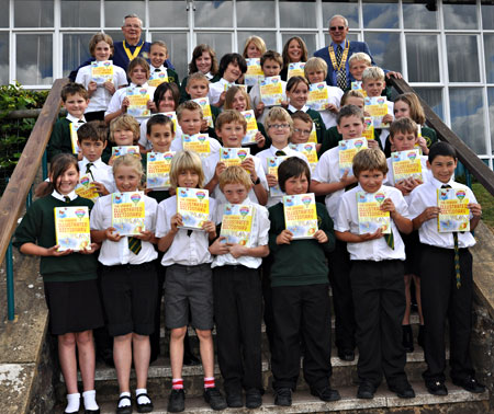 Dictionaries being presented at Dulverton School