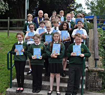Rotary Dictionaries being presented at Dulverton School